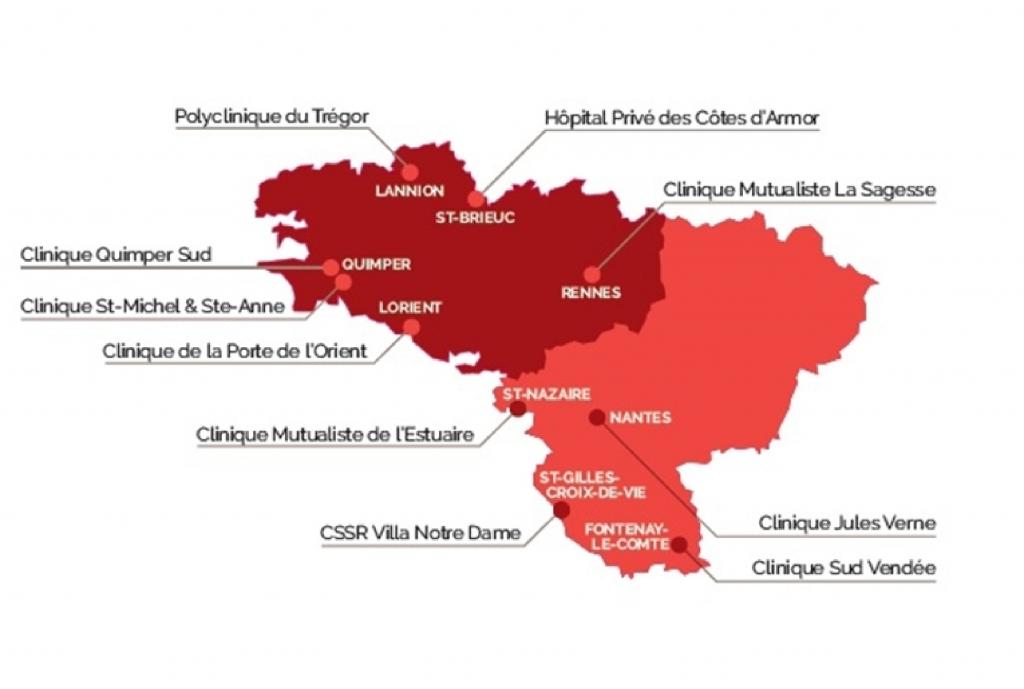 Carte établissements Hospi Grand Ouest